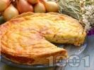 Рецепта Лучен пирог със сирене, яйца, сметана и прясно мляко